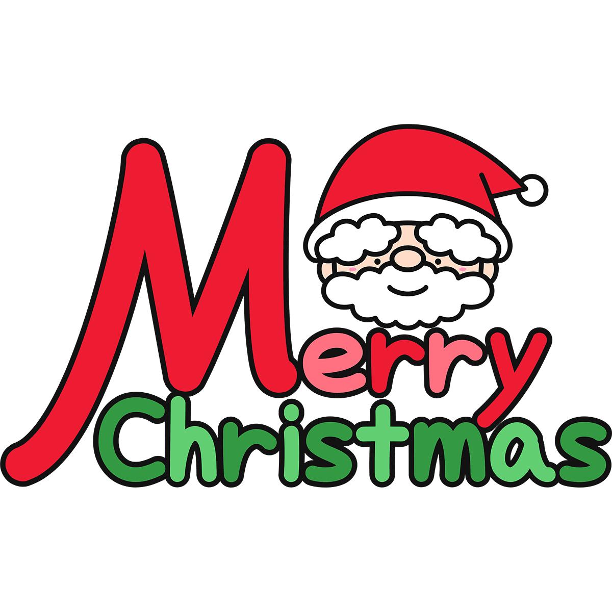 メリークリスマスとサンタクロースの無料イラスト