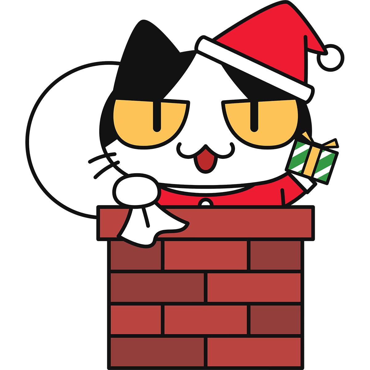 煙突に入る猫サンタの無料イラスト