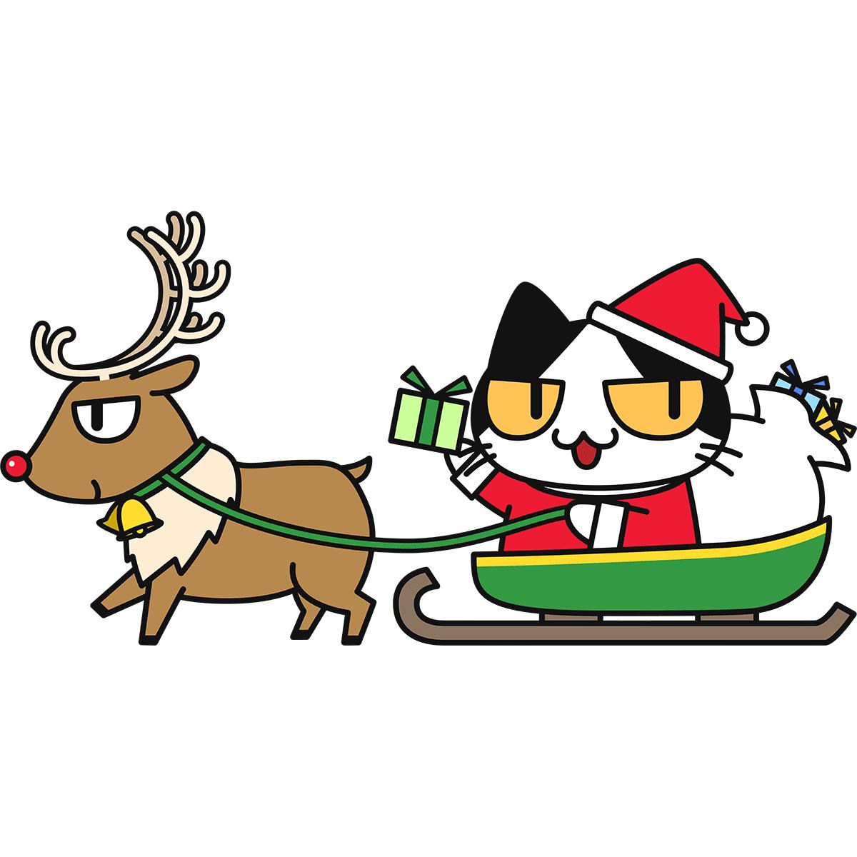 ソリに乗る猫サンタの無料イラスト