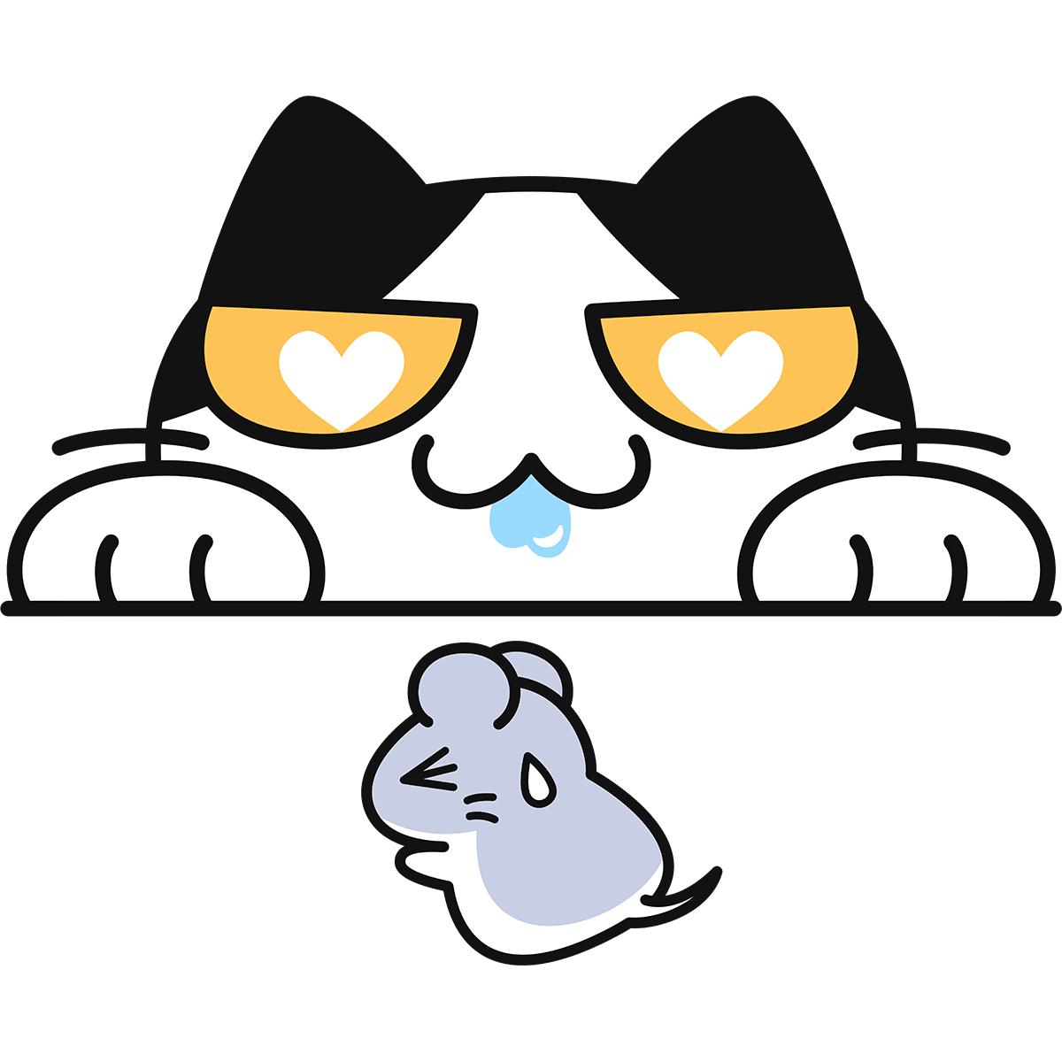 ネズミを狙う猫の無料イラスト