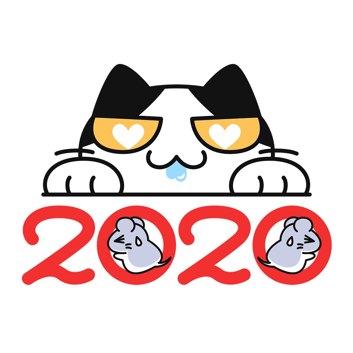 2020年の年賀状(猫に狙われるネズミ)の無料イラスト