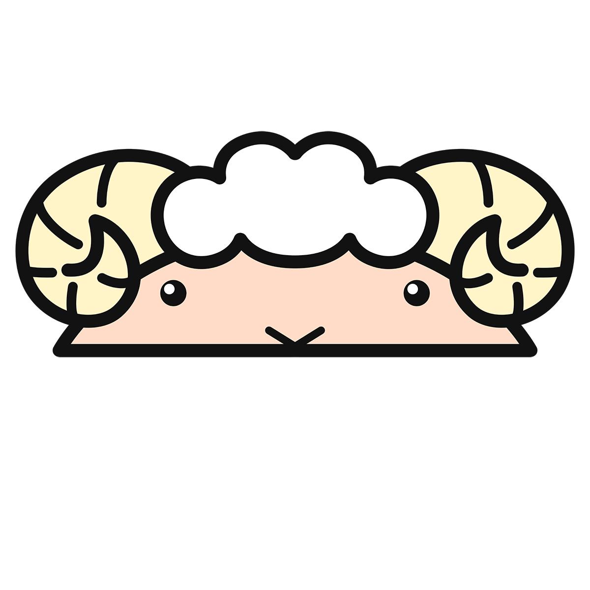 干支:ヒツジ・羊・未(2)の無料イラスト