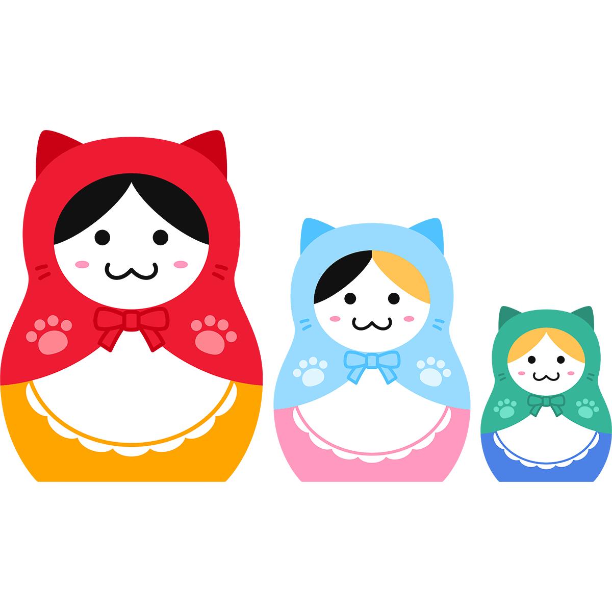 猫のマトリョーシカの無料イラスト