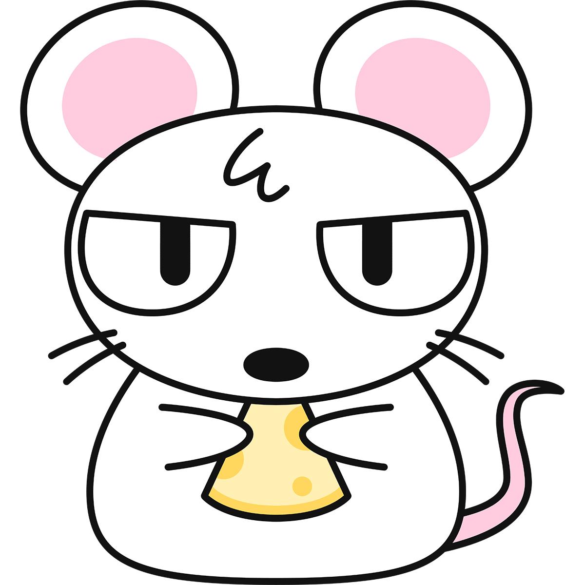 目つきが悪い白ネズミの無料イラスト