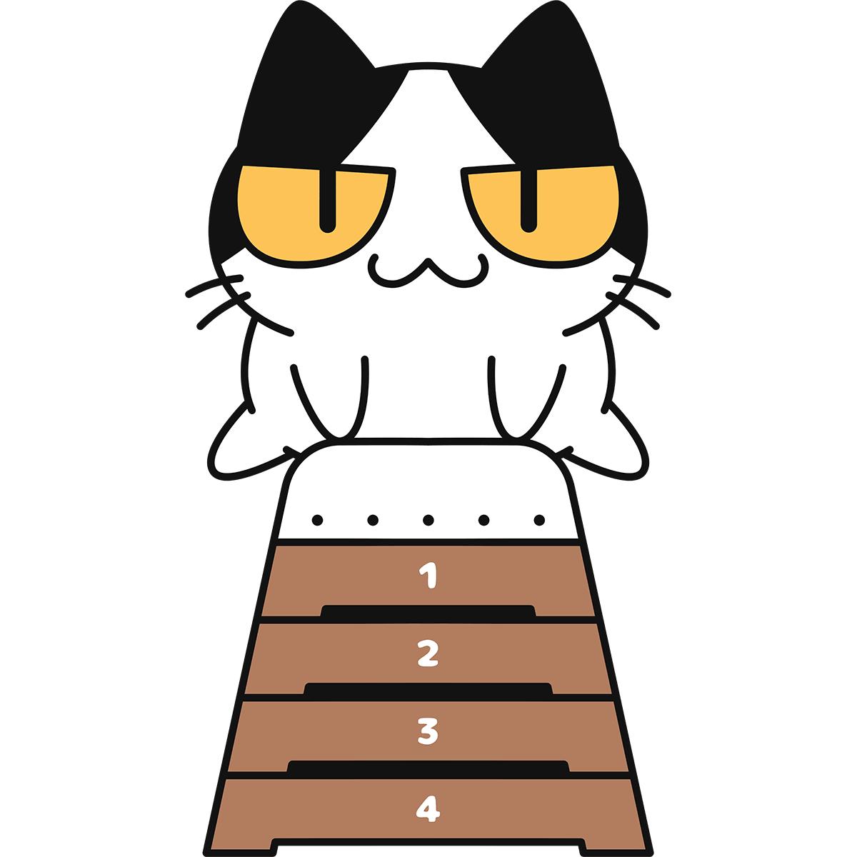 跳び箱をする猫の無料イラスト