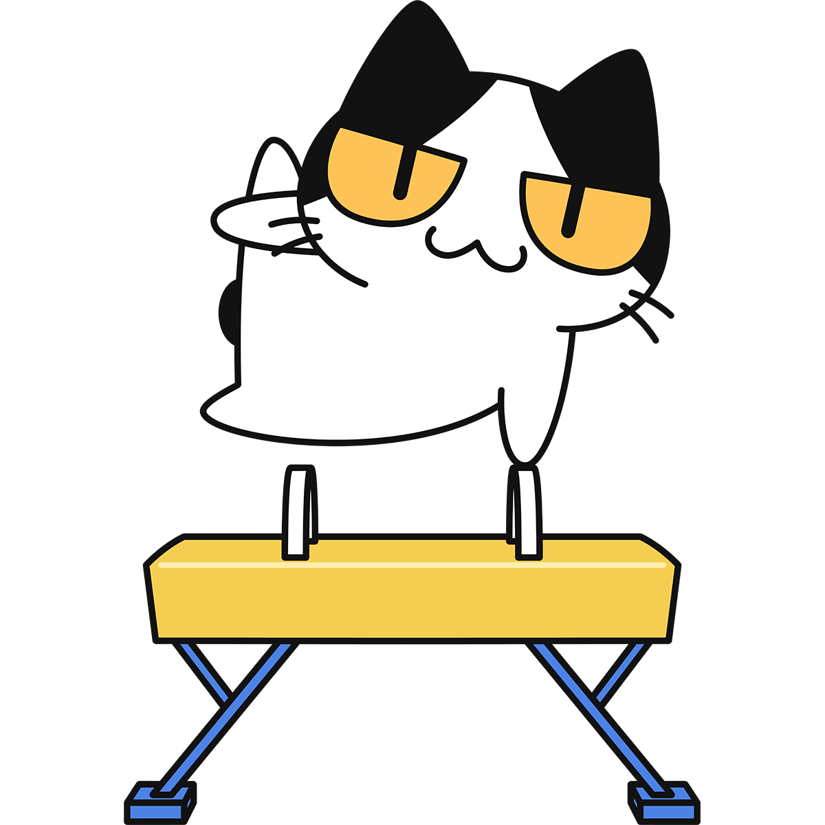 【体操】あん馬をする猫の無料イラスト