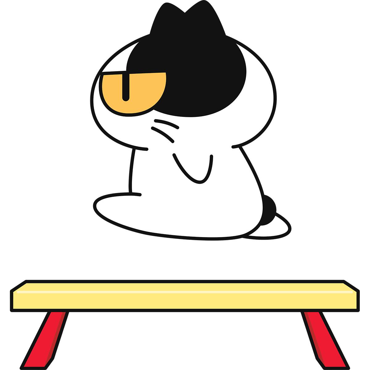 【体操】平均台をする猫の無料イラスト