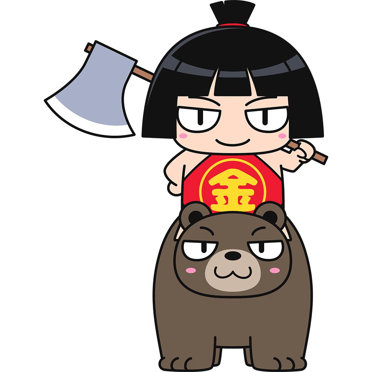 熊に乗った金太郎の無料イラスト
