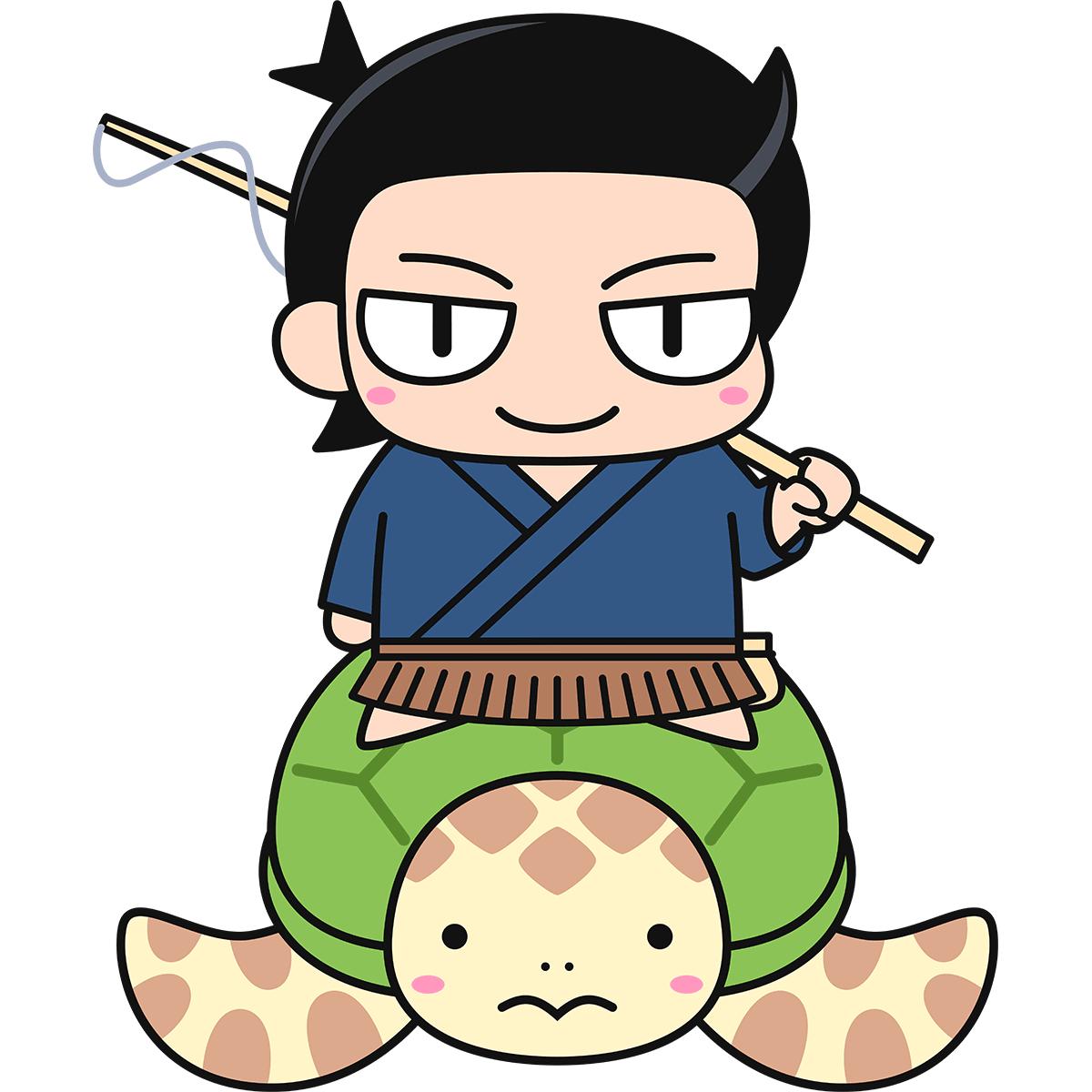 亀に乗った浦島太郎の無料イラスト