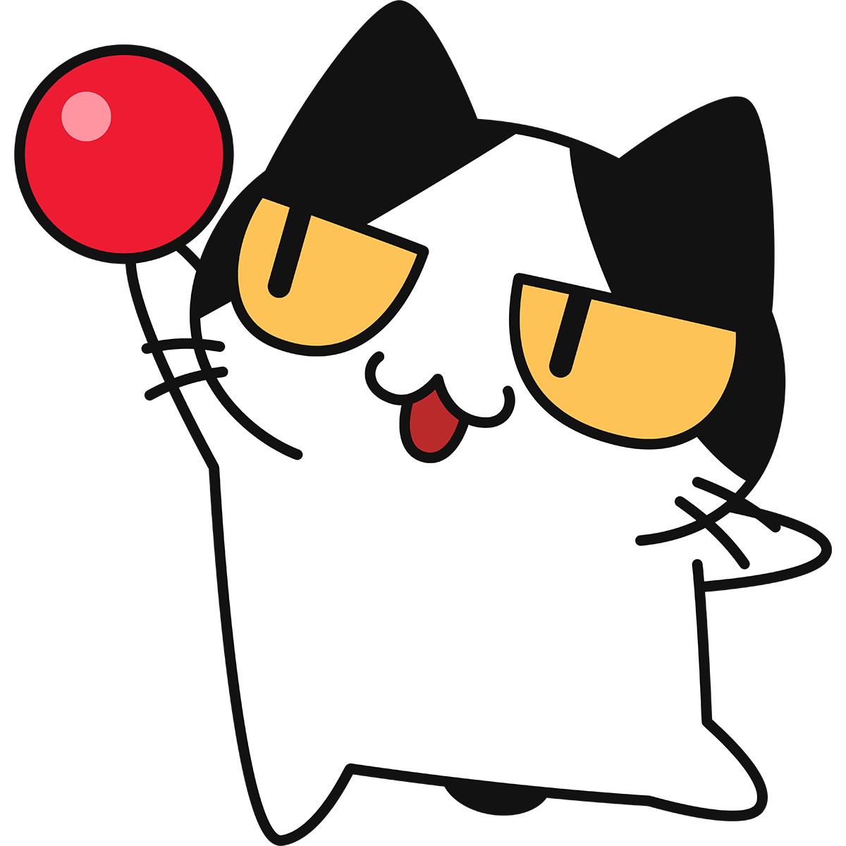【新体操】ボールで演技する猫の無料イラスト