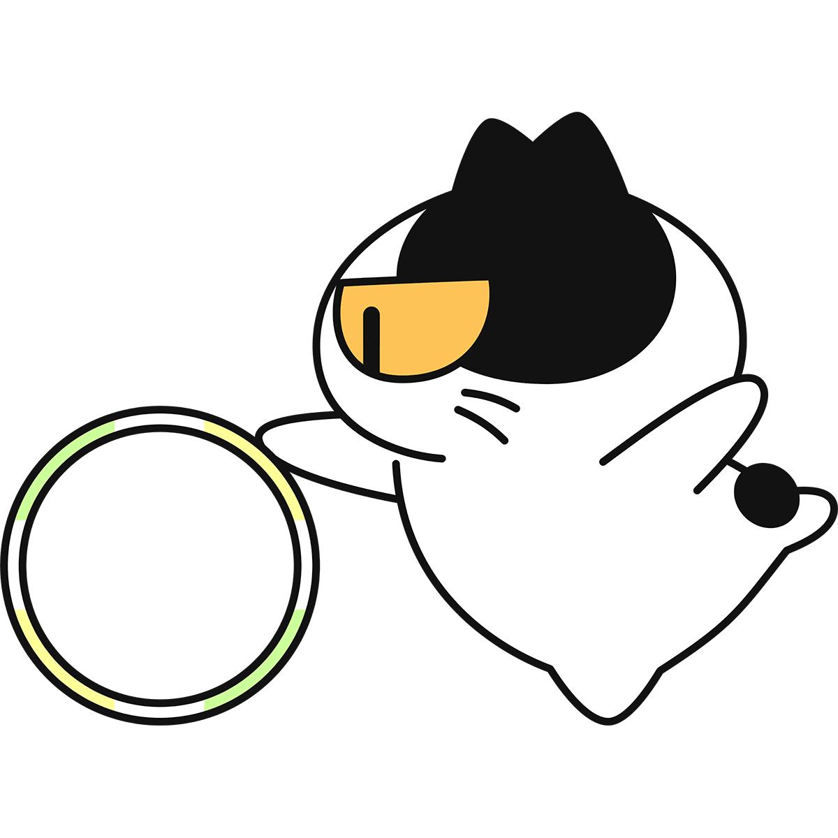 【新体操】フープで演技する猫の無料イラスト