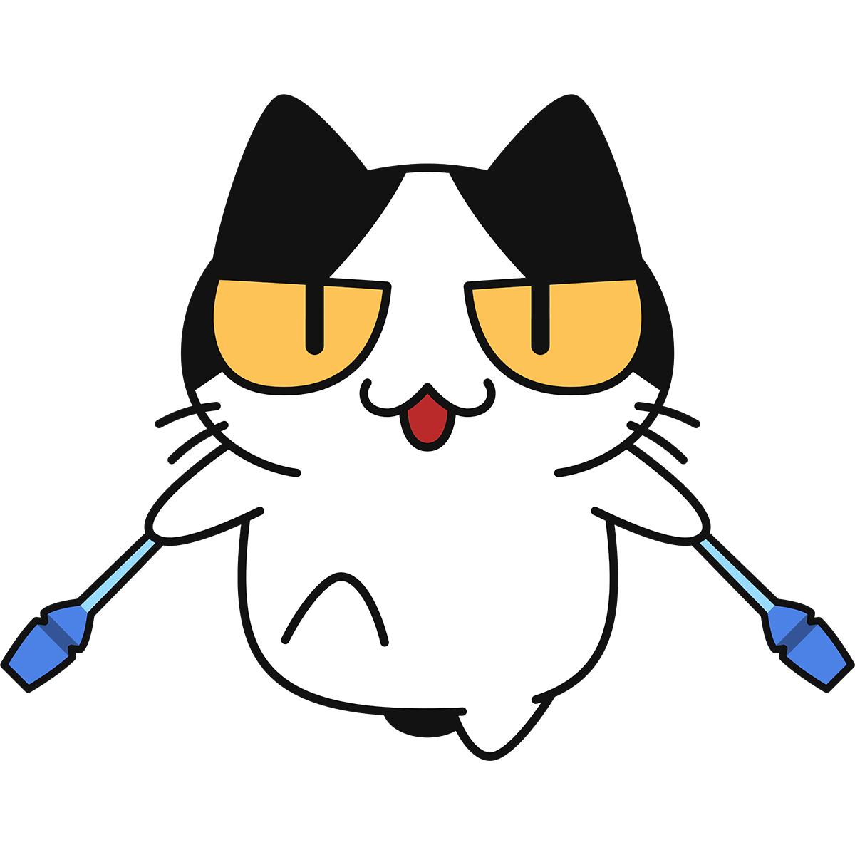 【新体操】クラブで演技する猫の無料イラスト