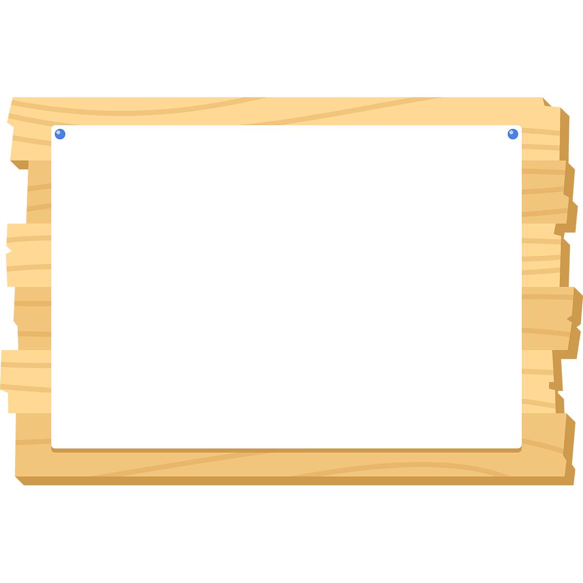 木の掲示板(紙)の無料イラスト