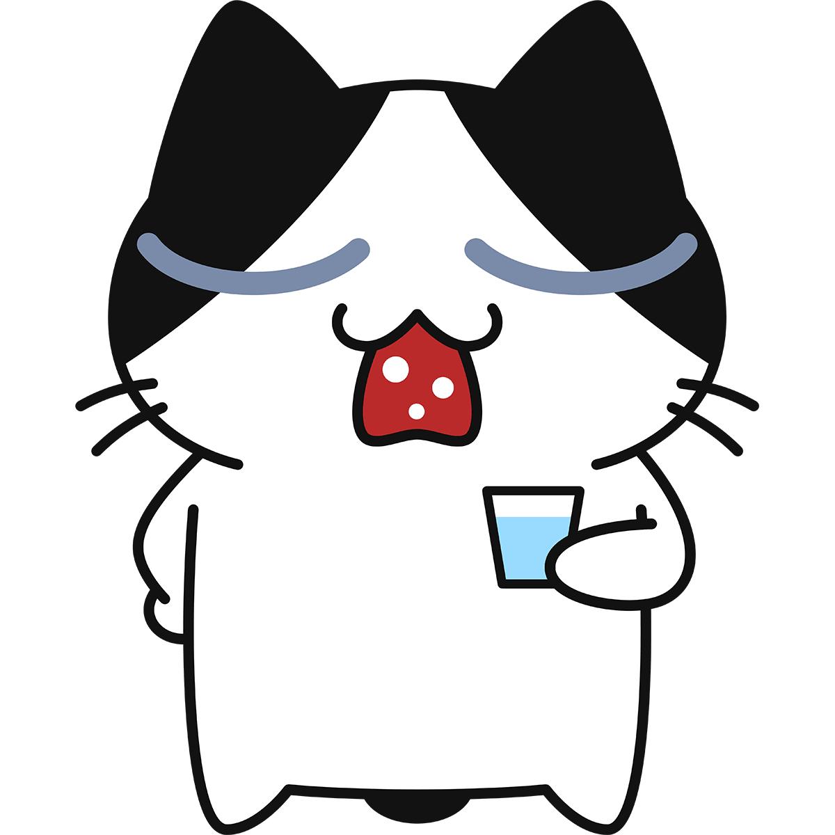 うがいをする猫の無料イラスト