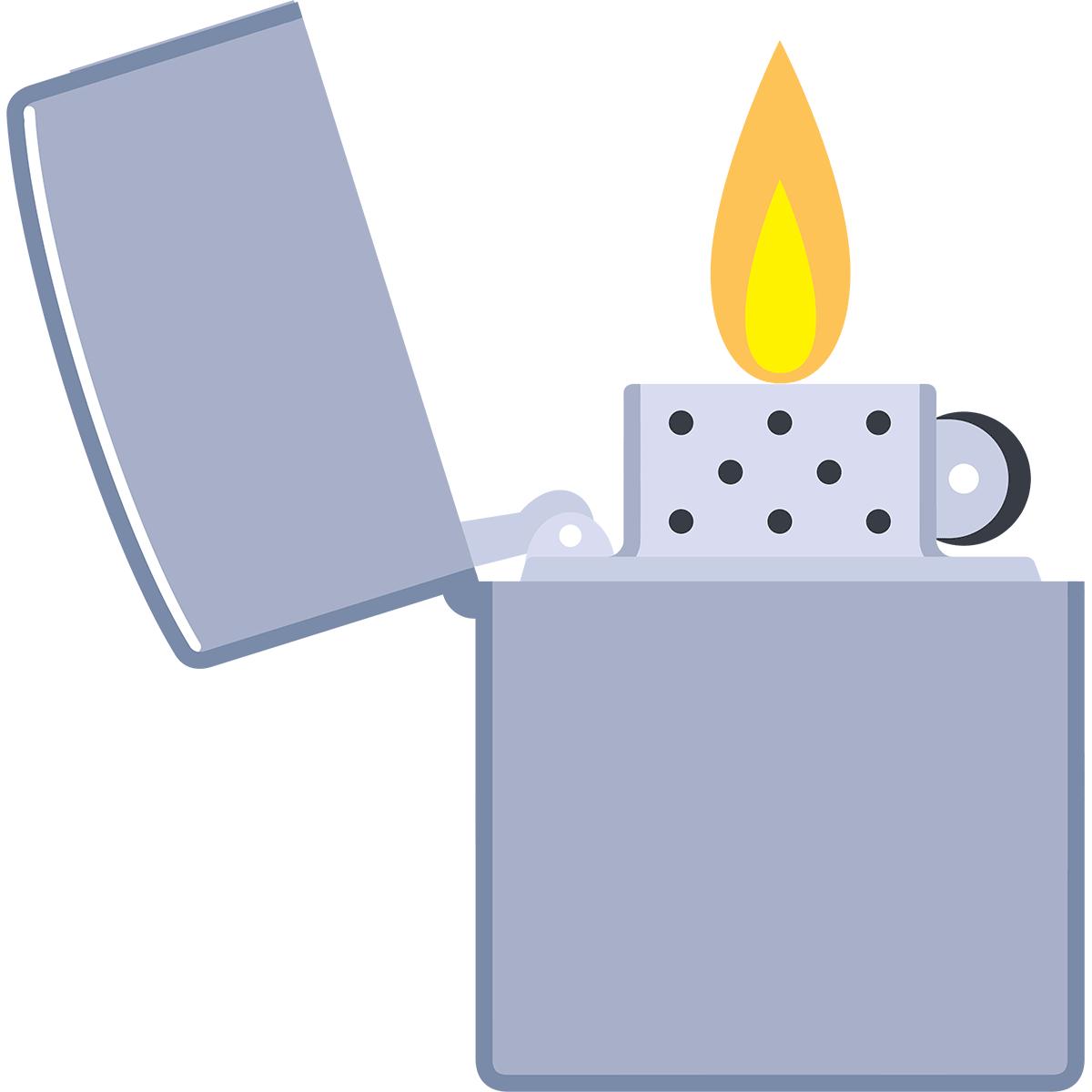 火のついたオイルライターの無料イラスト