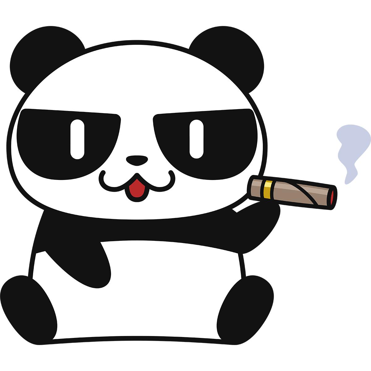 葉巻を吸うパンダの無料イラスト