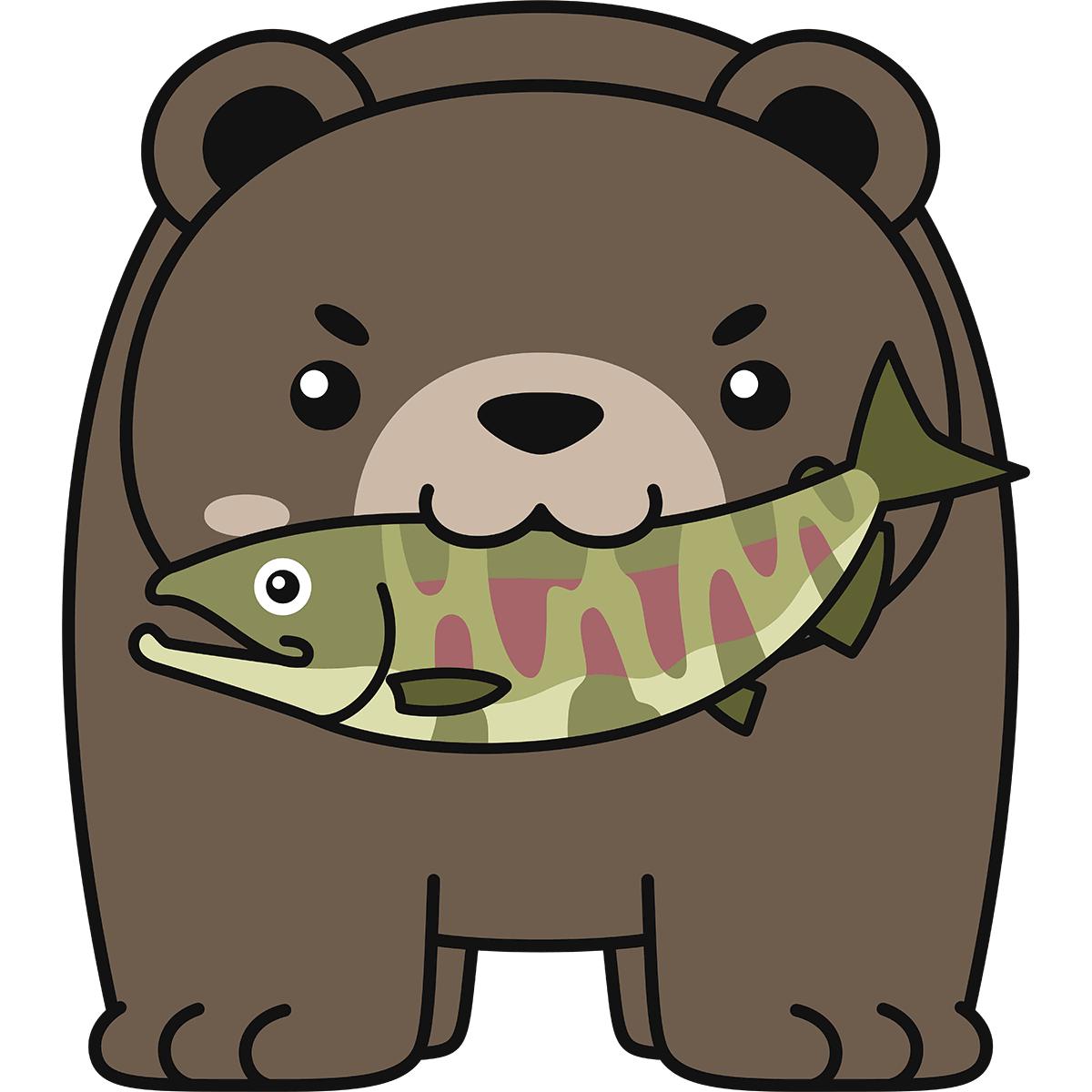 鮭を食べる熊の無料イラスト