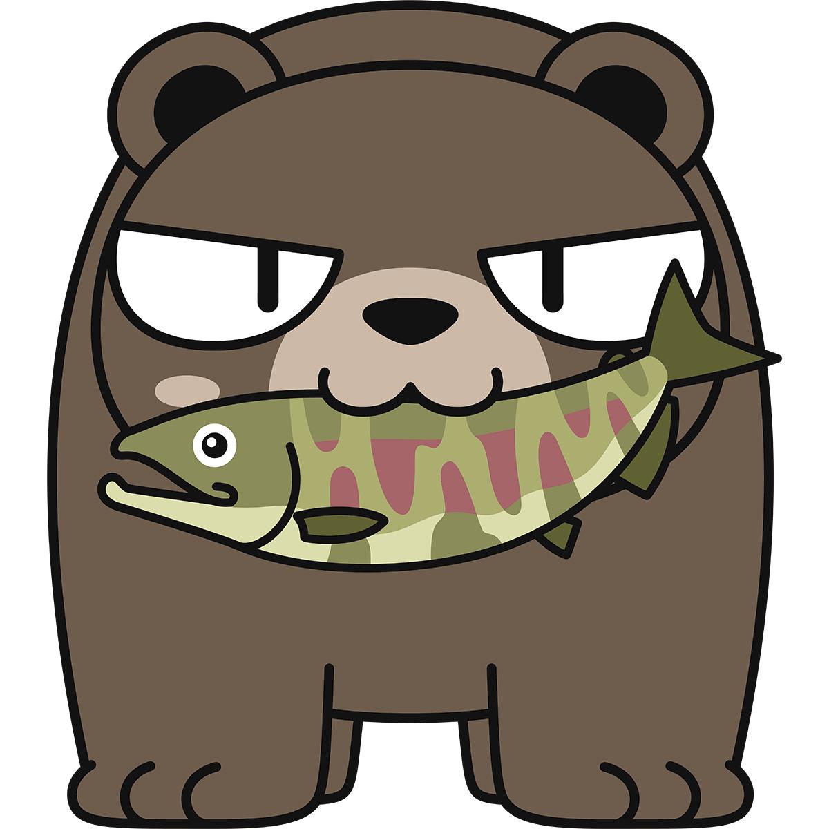 鮭を食べる熊(猫目)の無料イラスト