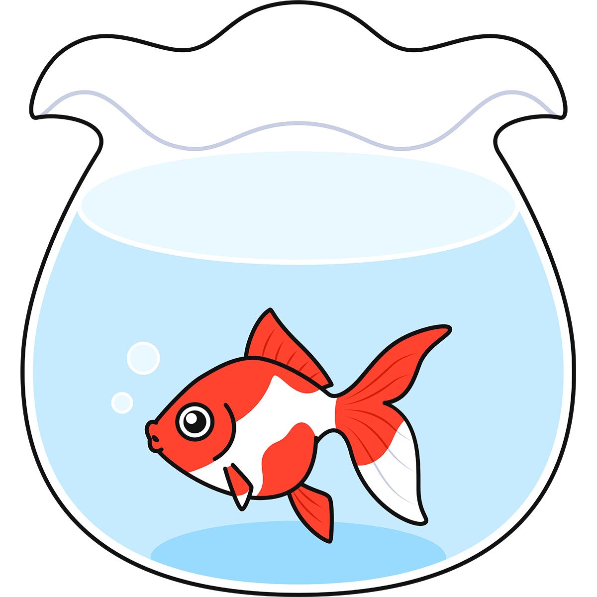 金魚鉢の無料イラスト