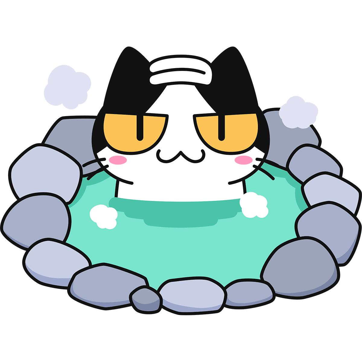 温泉に入る猫の無料イラスト