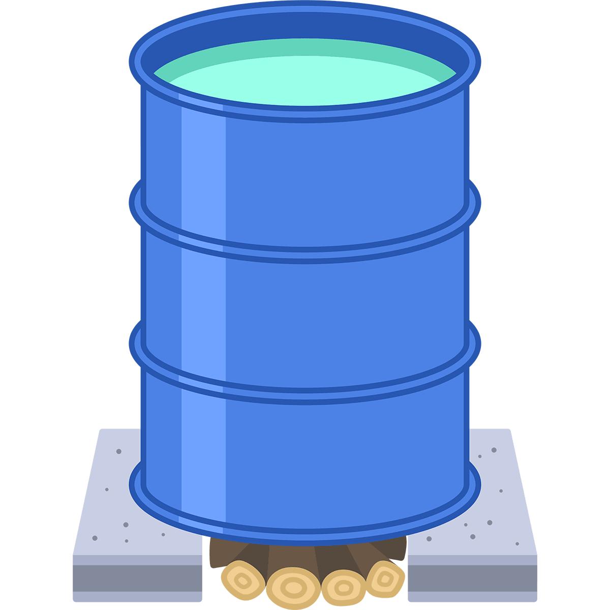 ドラム缶風呂の無料イラスト