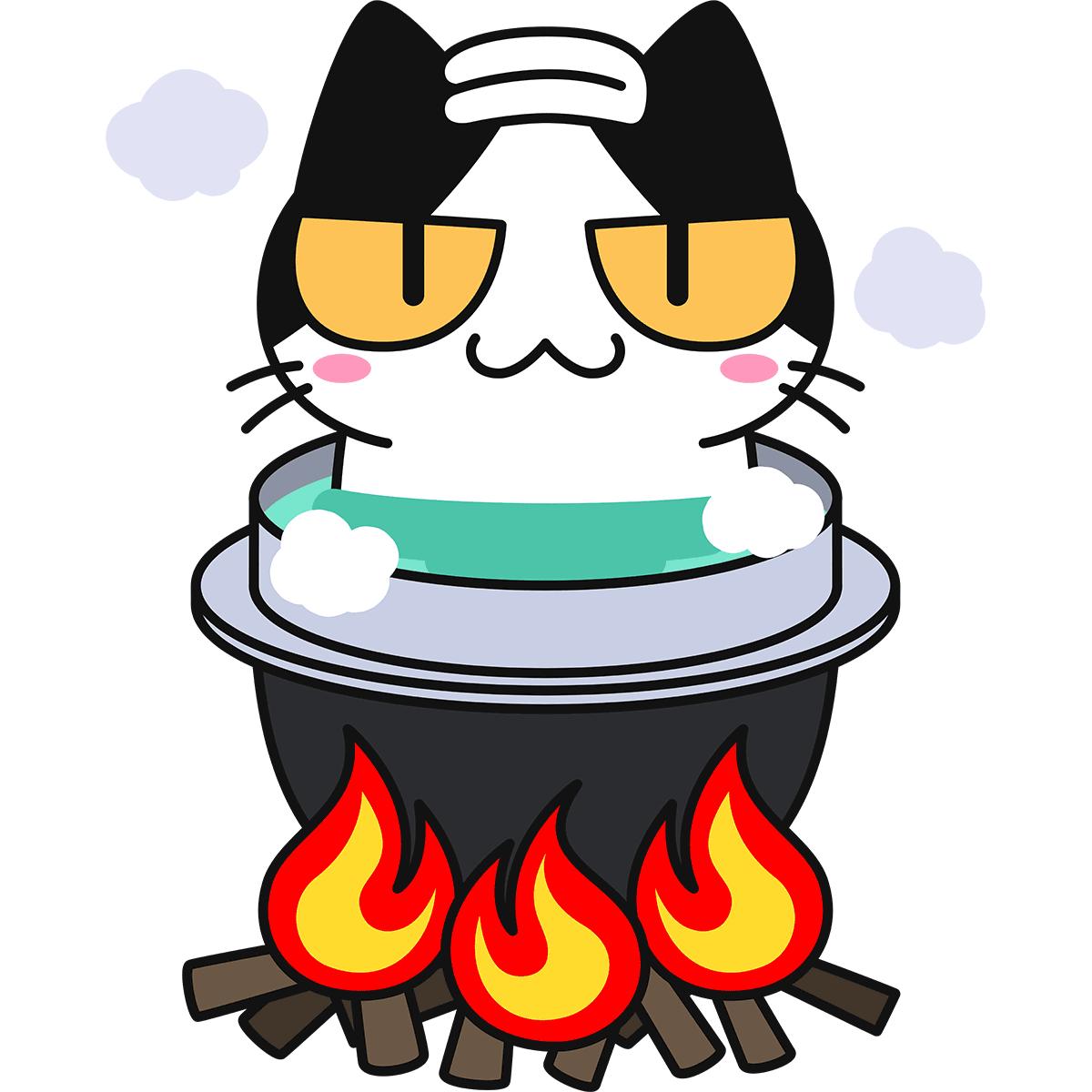 五右衛門風呂に入る猫の無料イラスト