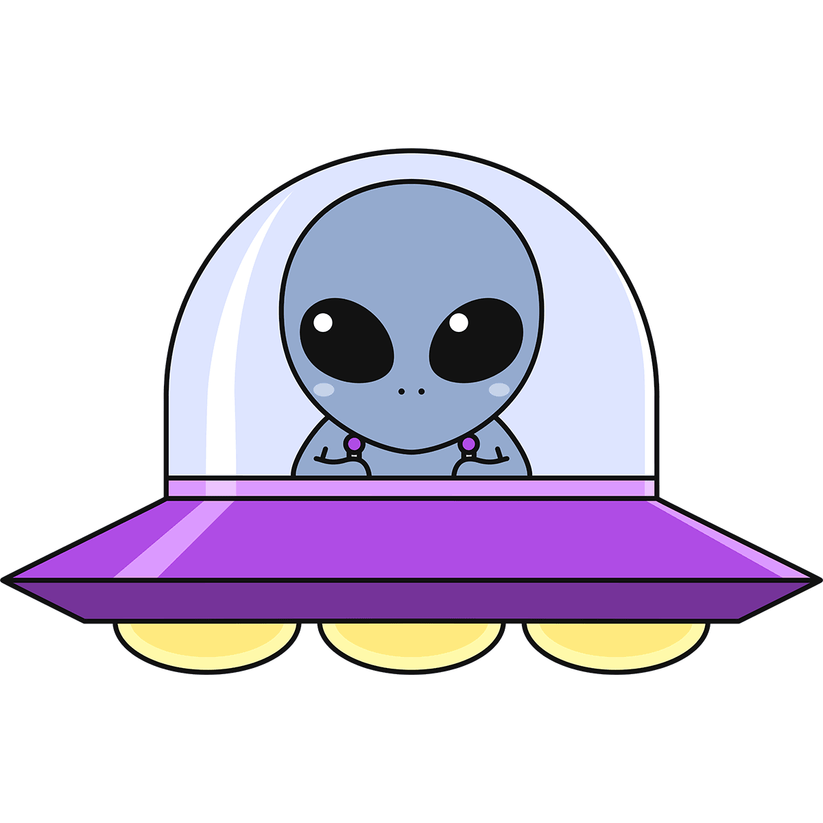 UFOに乗った宇宙人の無料イラスト