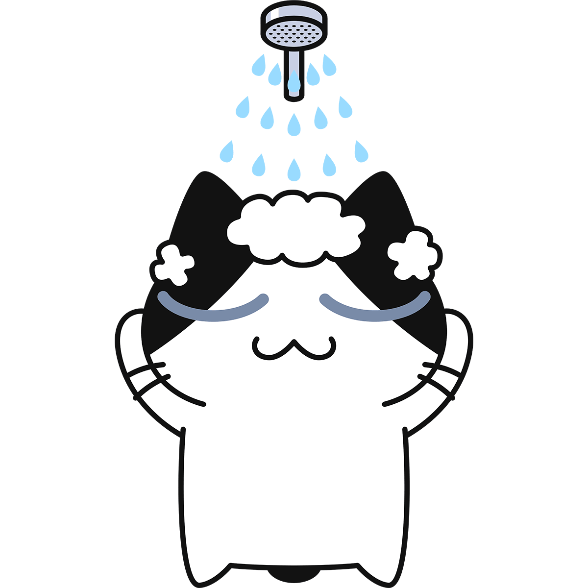シャワーを浴びる猫の無料イラスト