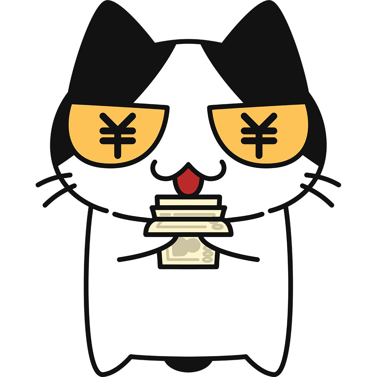 目が円マークになる猫の無料イラスト