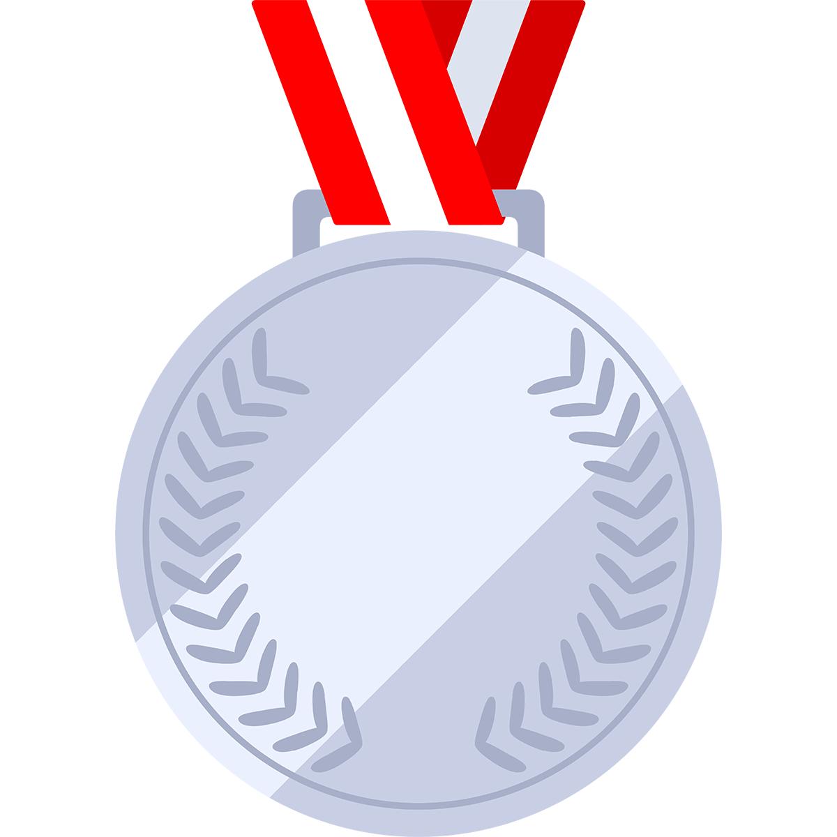 銀メダルの無料イラスト