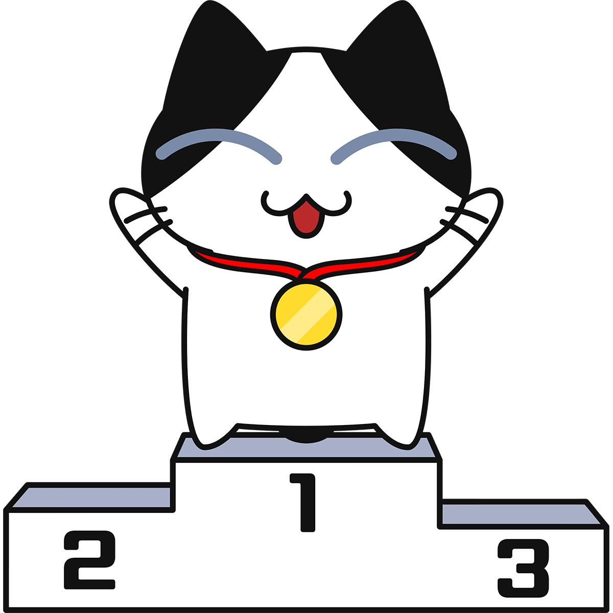 表彰台に上がる猫の無料イラスト