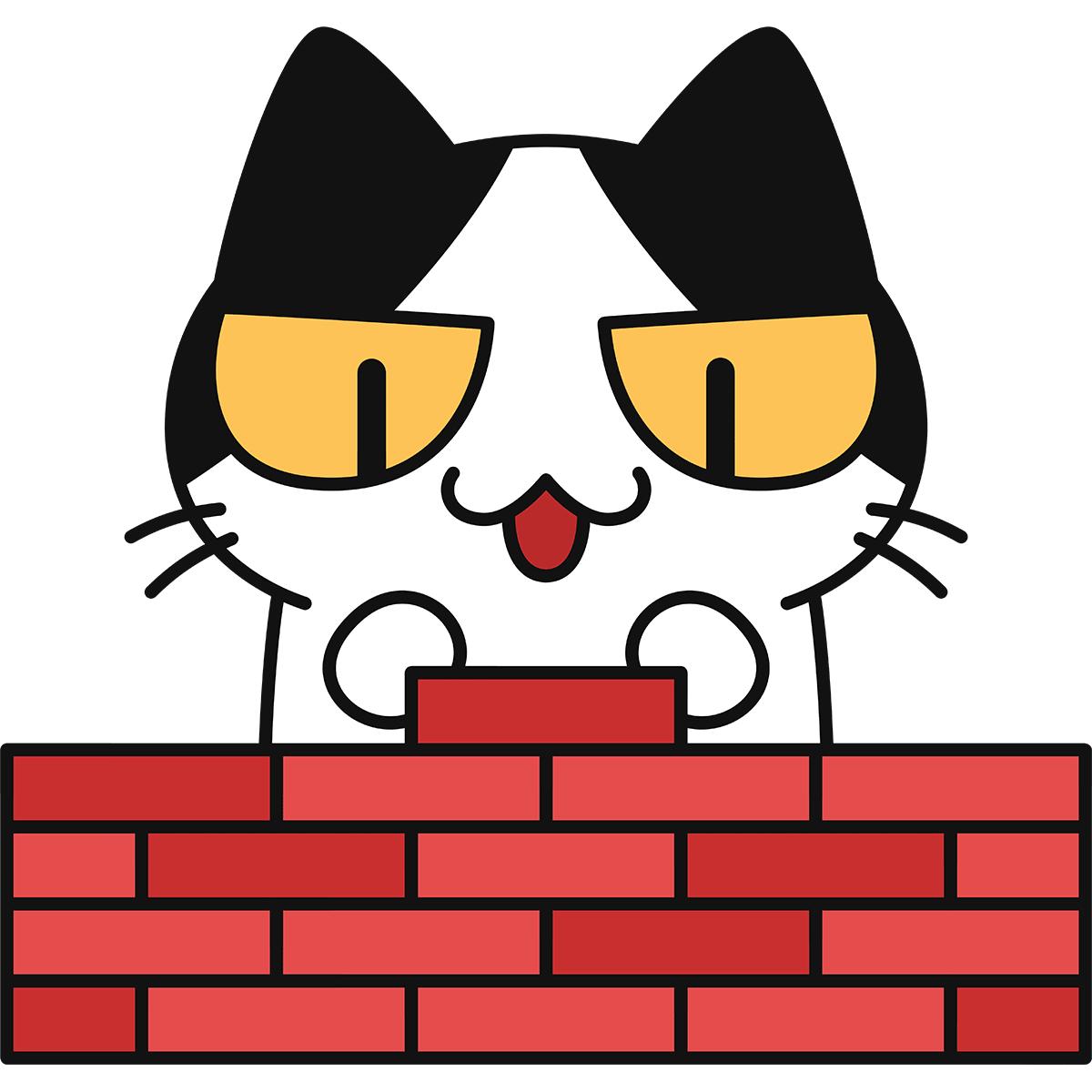 レンガを積む猫の無料イラスト