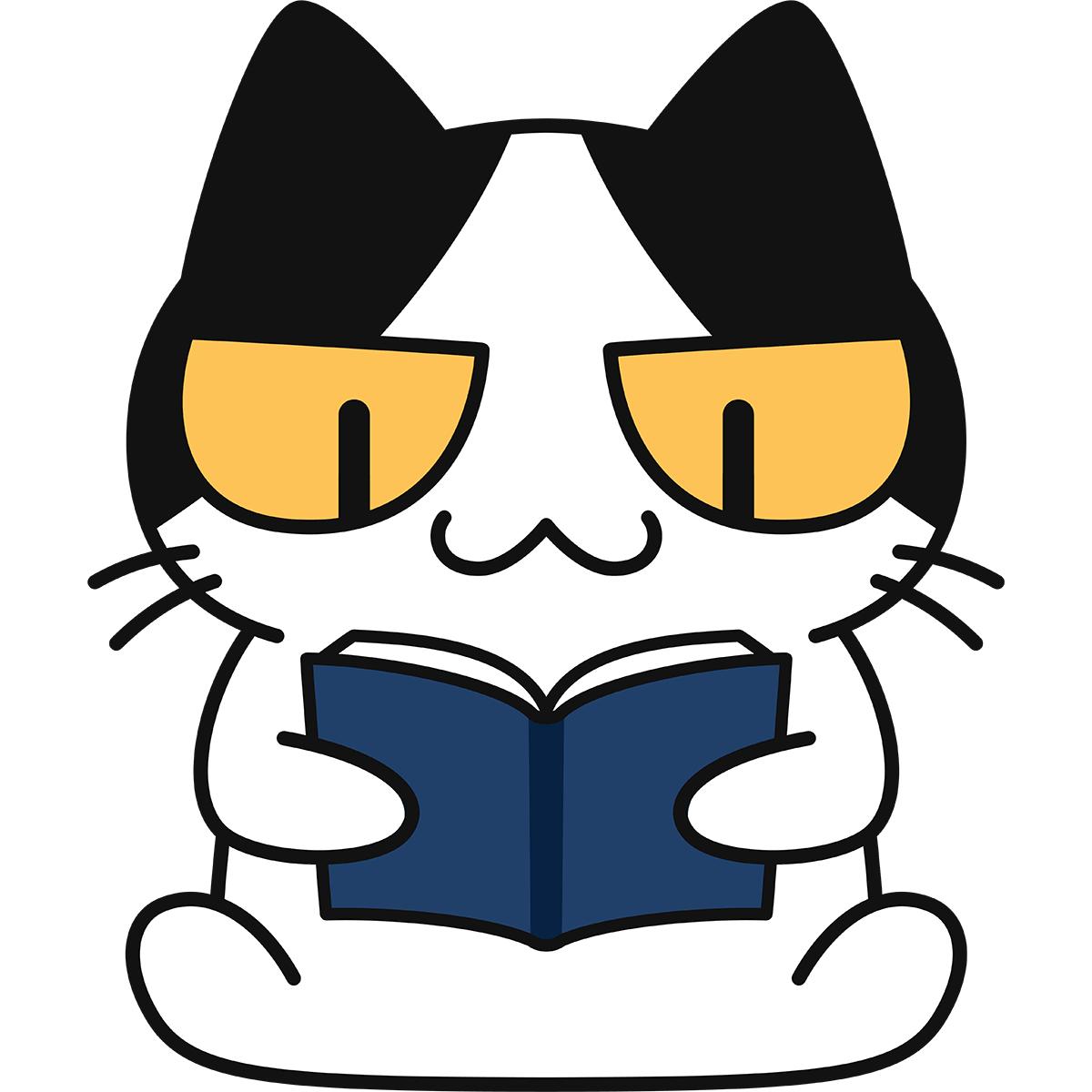 本を読む猫の無料イラスト