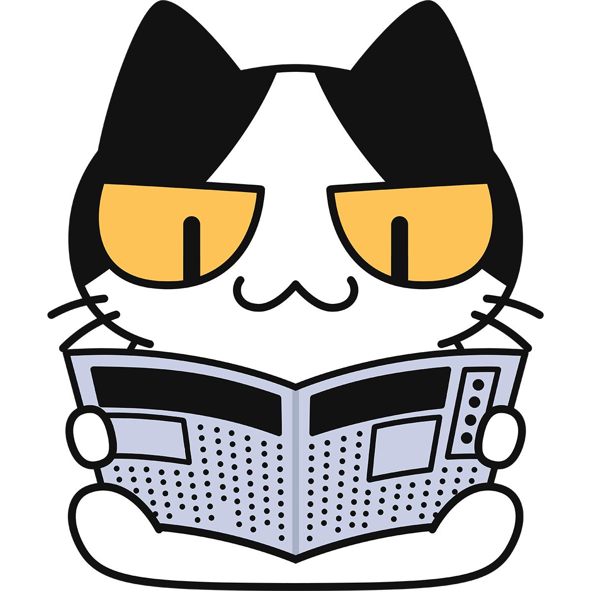 新聞を読む猫の無料イラスト