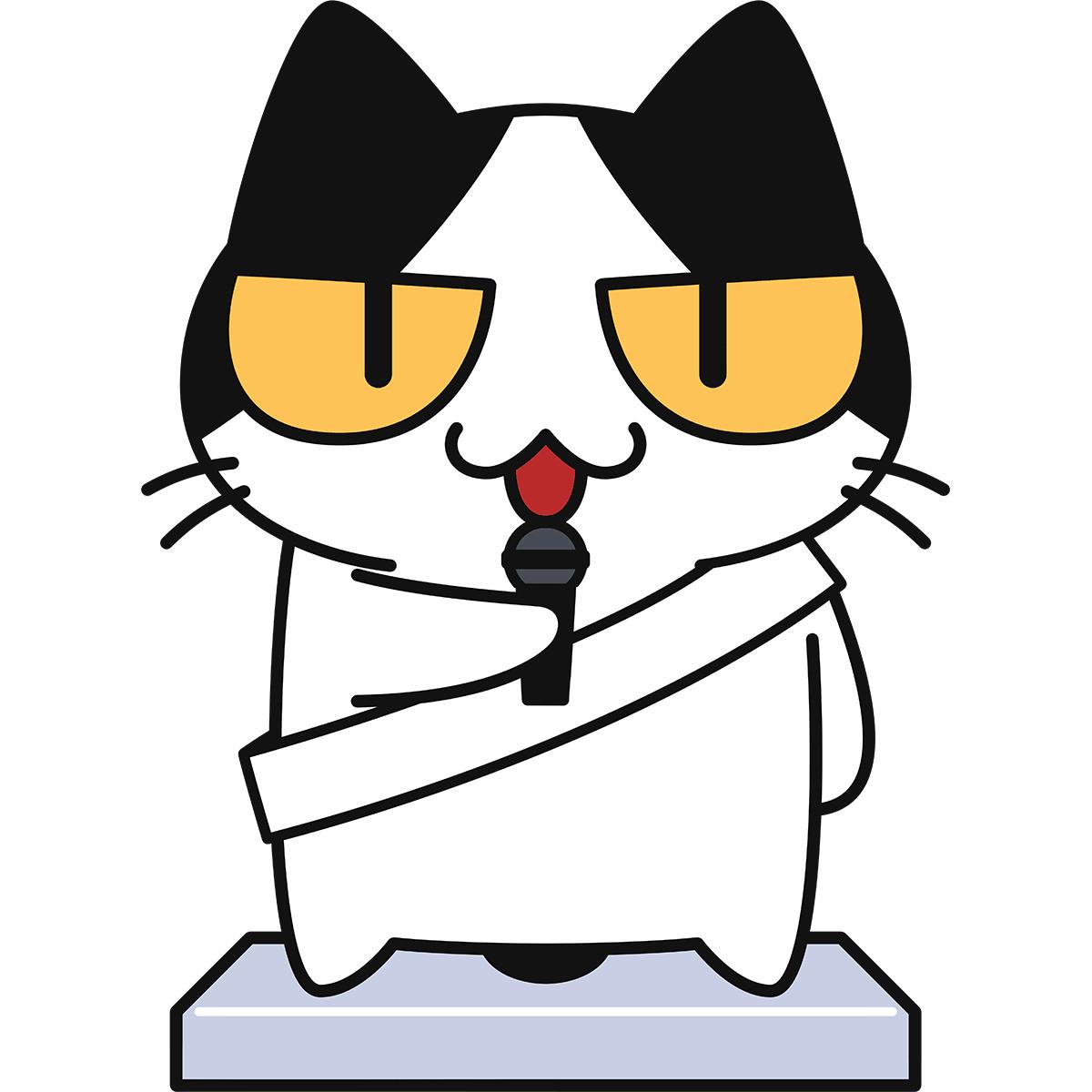選挙演説をする猫の無料イラスト