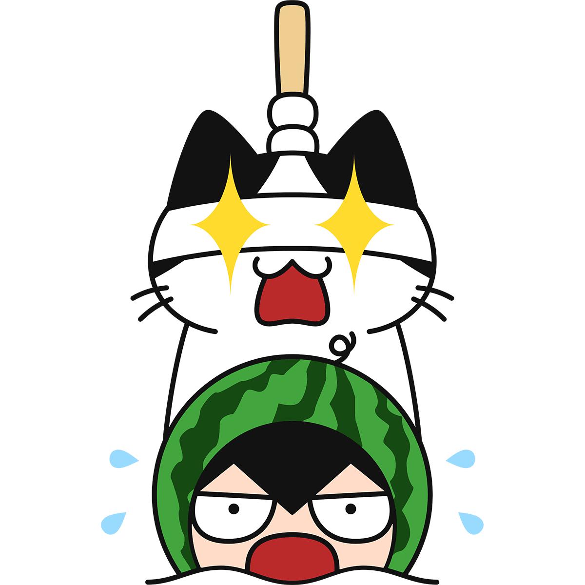 危険なスイカ割りする猫の無料イラスト