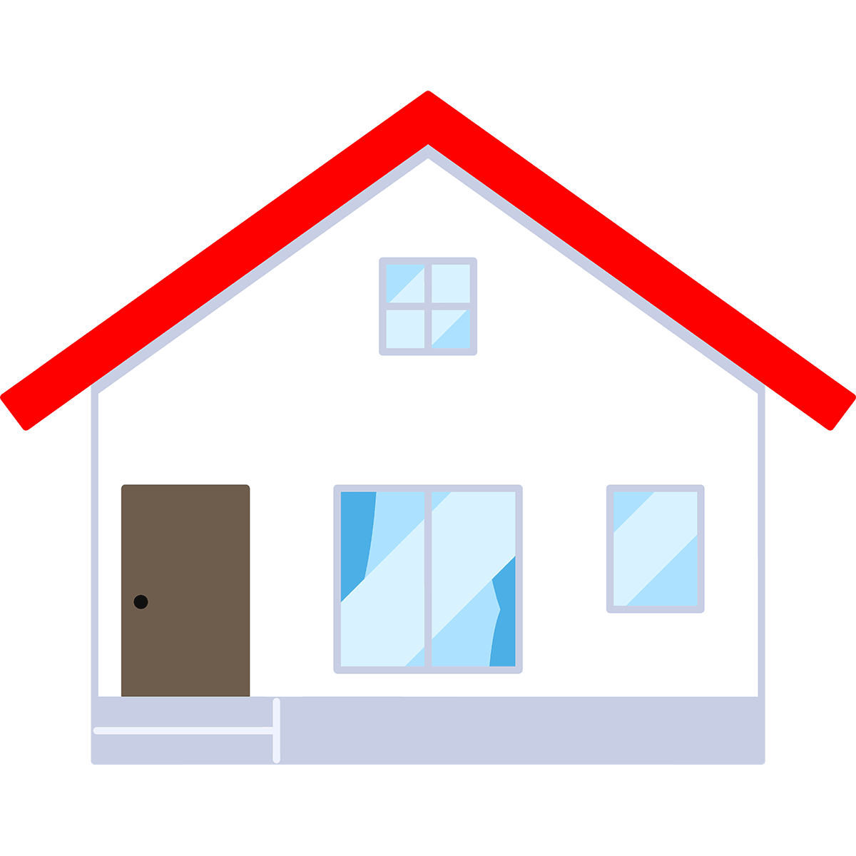 赤い屋根の家の無料イラスト