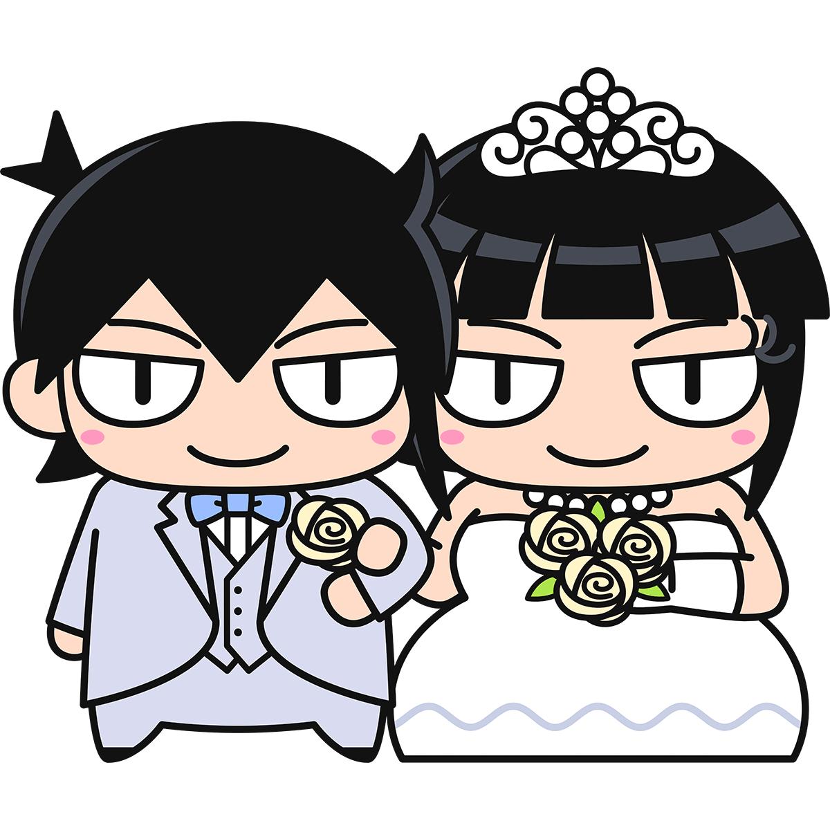 結婚式をあげる新郎新婦の無料イラスト