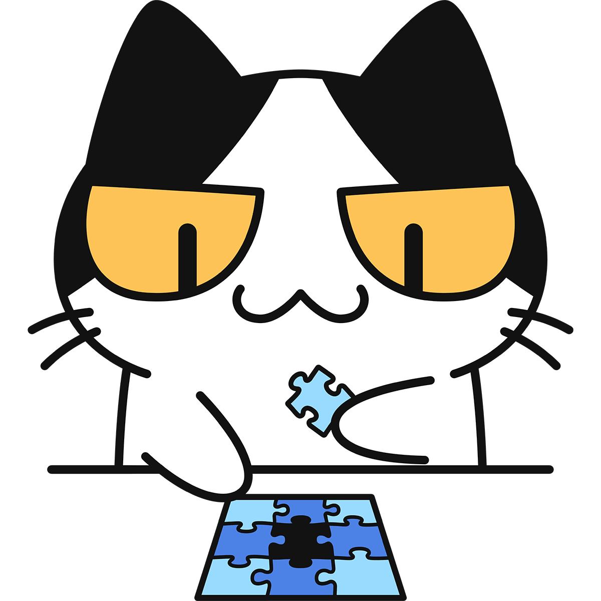 ジグソーパズルをする猫の無料イラスト
