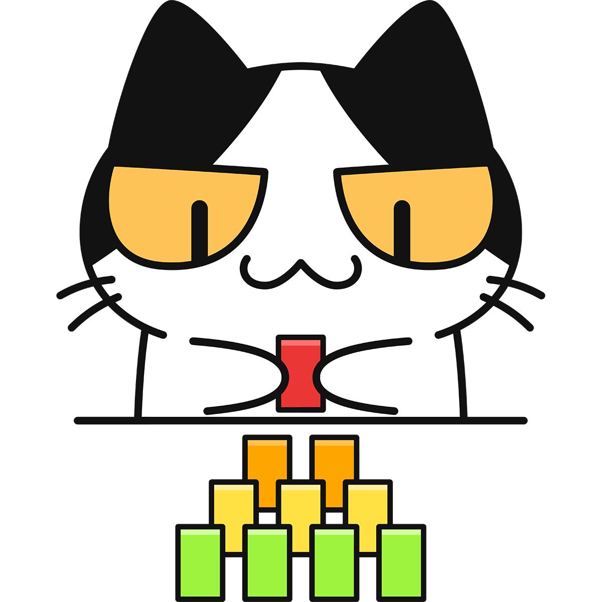 ドミノをする猫の無料イラスト