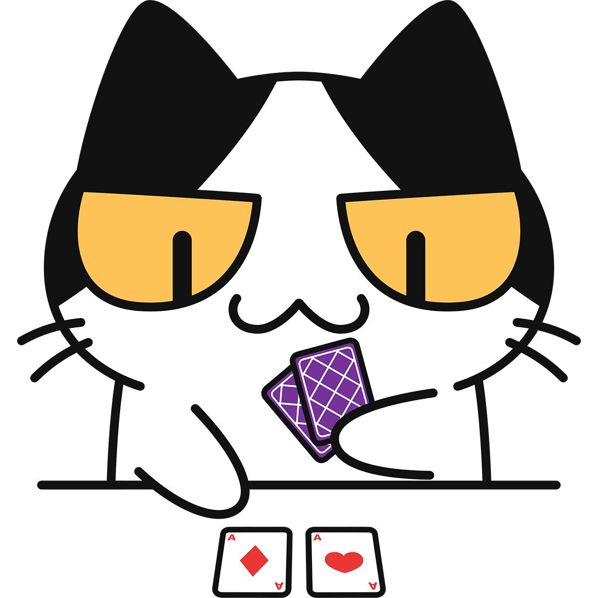 トランプをする猫の無料イラスト