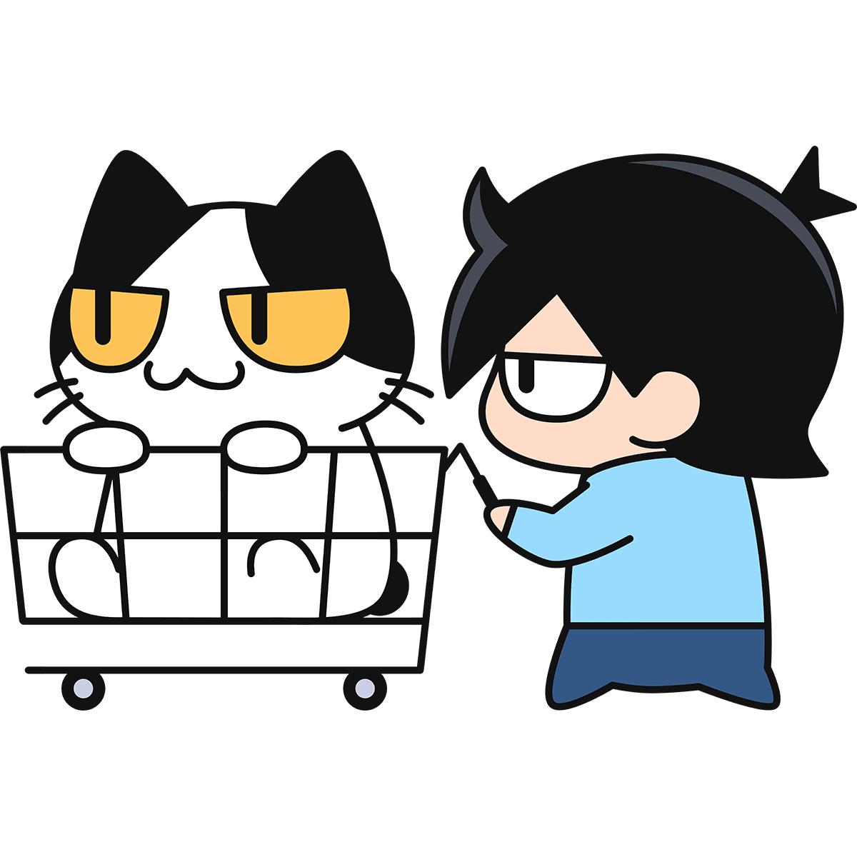 買物カートに乗る猫の無料イラスト
