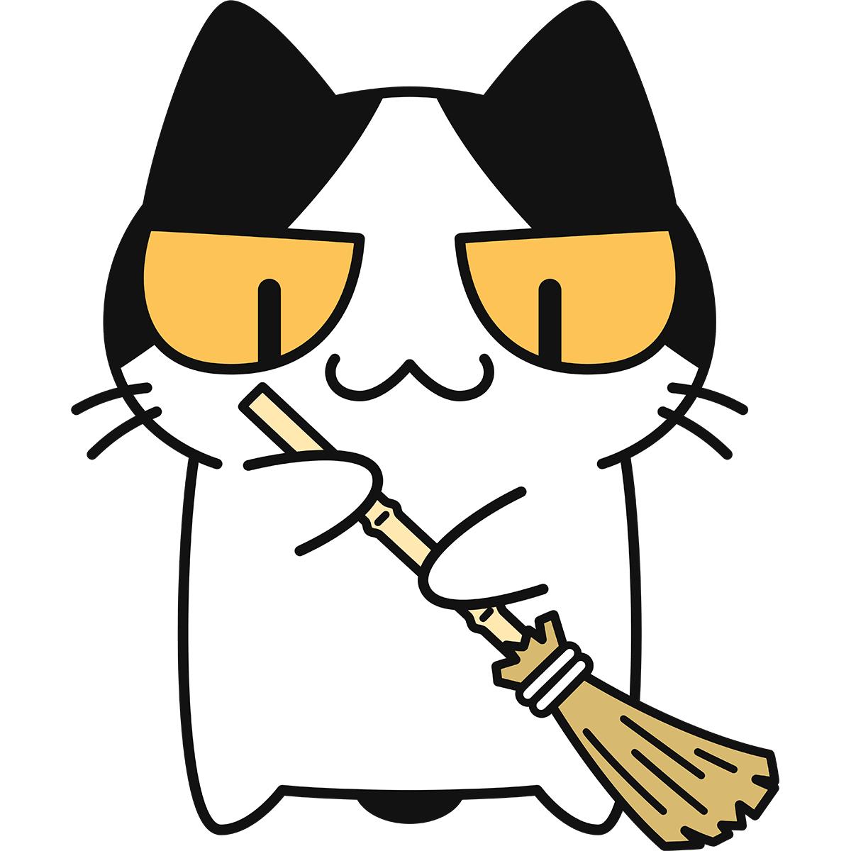 掃除する猫の無料イラスト