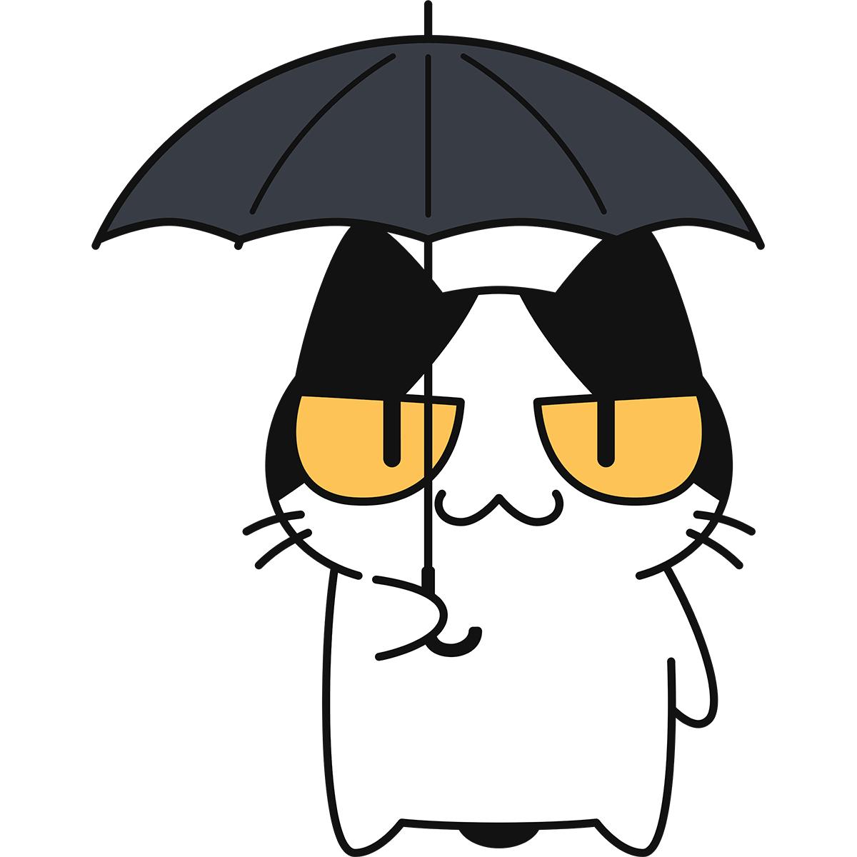 傘をさす猫の無料イラスト