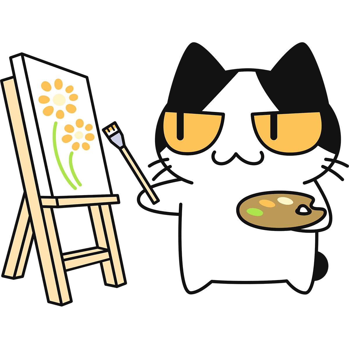 絵を描く猫の無料イラスト