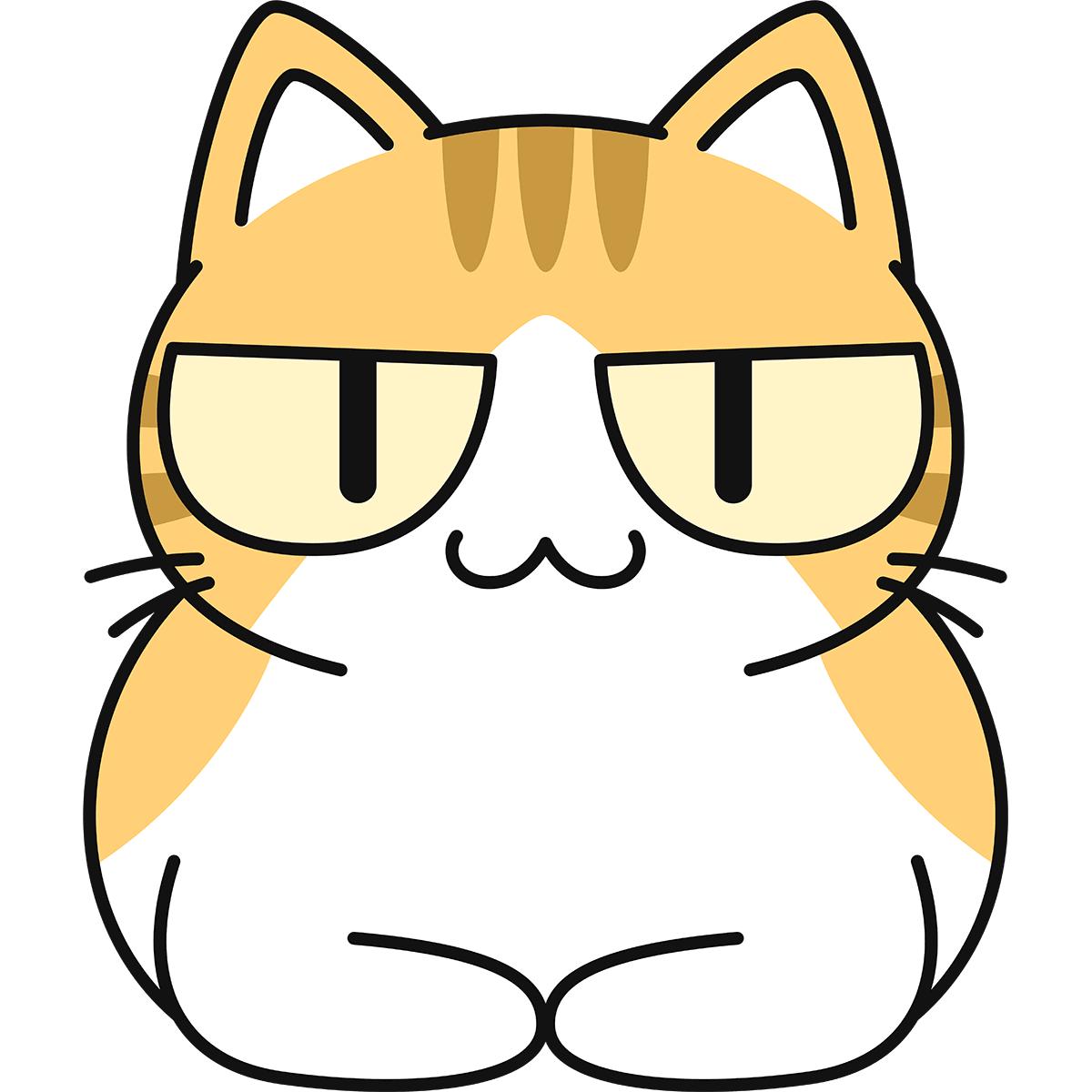 香箱座りをする茶白猫の無料イラスト