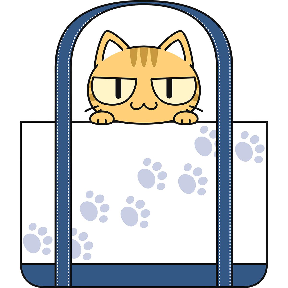 鞄に入る茶トラ猫の無料イラスト