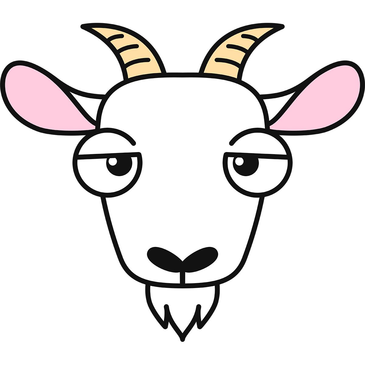 ヤギの顔の無料イラスト