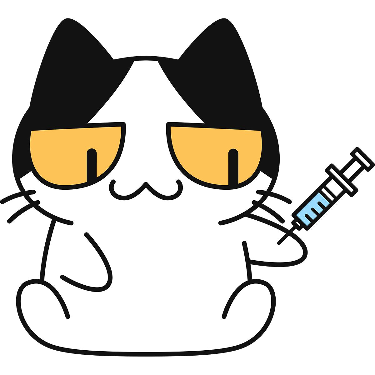 予防接種をする猫の無料イラスト