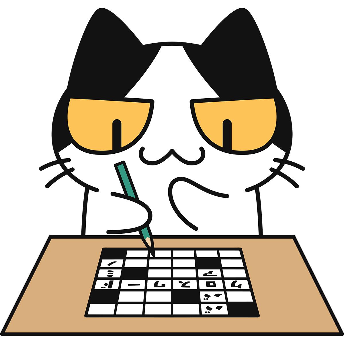 クロスワードパズルをする猫の無料イラスト